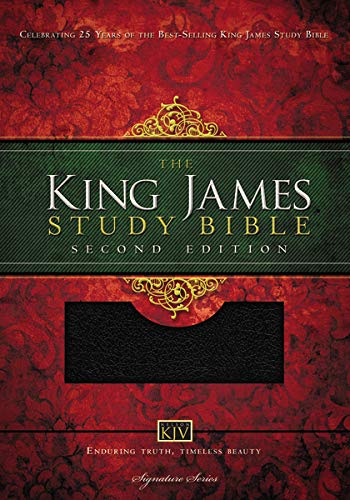 KJV Study Bible, Large Print, Bonded Leather, Black, Thumb Indexed, Red Letter: Second Edition (Signature)