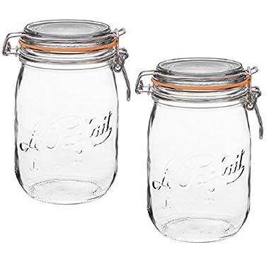2 Le Parfait Super Jars - Wide Mouth French Glass Preserving Jars - Zero Waste Packaging (2, 1000ml - 32oz - Quart)