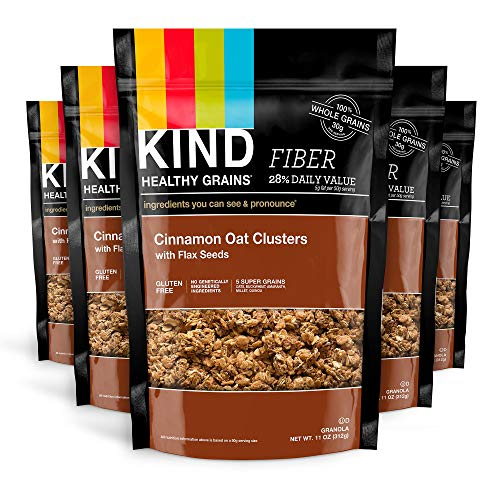 KIND Healthy Grains Clusters, Cinnamon Oat with Flax Seeds, Gluten Free, 11 Ounce (Pack of 6)