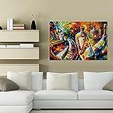 XIAOMA Lienzo pintura impresión abstracta, botella de jazz, músico, Leonid Afremov, póster e impresiones artísticas de pared cuadro moderno dormitorio decoración sin marco (20 x 30 cm)