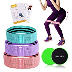 WeluvFit Fitness Bands Set and Double Sided Liner Fabric Resistance Bands, Loop Belts for Abdominals, Legs and Hips - Travel Bag, Training and Prescription Notebook Included (Blue, Purple, Pink)