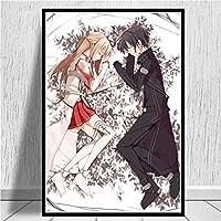 ビデオゲームソードアート・オンラインキリトアスナ日本アニメのポスタープリントウォールの写真のためにリビングルームのホームインテリア (Color : 5, Size (Inch) : 50x70cm)