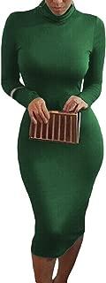 Womens Turtleneck Long Sleeve Bodycon Midi Sheath Dress