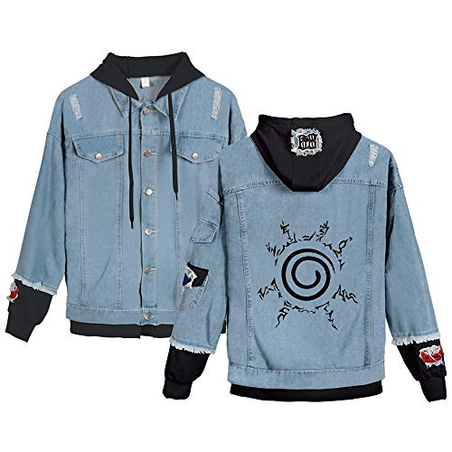 Unisex Naruto Kapuzenpullover Cartoon Anime Color Printing Cardigan Mantel modischer Entwurf Hübscher Bequeme Jeansjacke Naruto Sweatshirt (Color : Blue12, Size : Height-155cm (Tag XS))