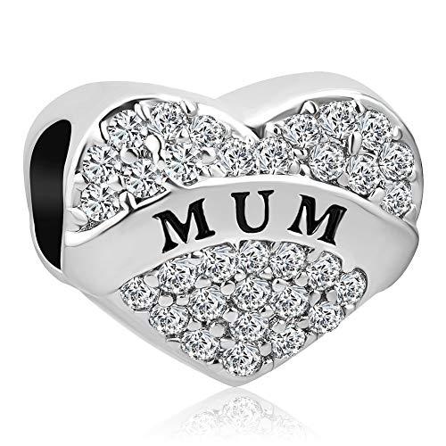 Korliya I Love You Mum Heart Charm With White Crystal Bead For Bracelet