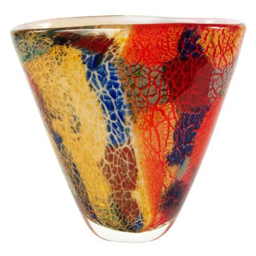 Luxury Lane Hand Blown Multicolor Abstract Art Glass Vase 8 inch Tall