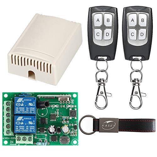 KASER Receptor Universal 433 MHz Radio Receptor con Transmisor Autoaprendizaje 2 Canales para Garaje Puertas Portón Automática Persianas Luces Motor Relay AC 220V (Incluyendo 2 mandos)