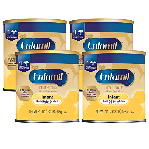 Enfamil Infant Formula - Milk-based Baby Formula with Iron - Powder Can, 21.1 oz (Pack of 4)