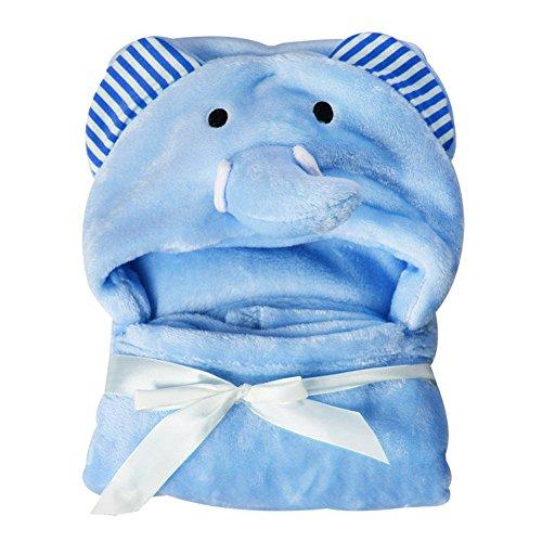 Hinmay, Asciugamano con cappuccio a forma di animale, in morbido pile vellutato, per neonati da 0 a 24 mesi (#2)