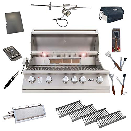 Lion 40-Inch Natural Gas Grill L90000 with 4 Ceramic Tubes w/Flame Tray and Searing Burner and 5 in 1 BBQ Tool Set Best of Backyard Package Deal