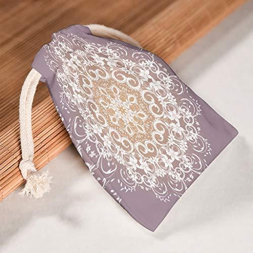 O2ECH-8 Set van 6 stuks voor 6 meerkleurige stijlen Mandela Organiseren opslag koordsluitingen tassen herbruikbaar speelgoed pouch pak voor Valentijnsdag verjaardag geschenken wrap tas - Mandela Art ontworpen 12*18cm wit