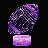 Enfants Nuit Lumière 3D Illusion Led Lampe De Table 7 Couleur Tactile Usb Télécommande Humeur Lumière Décorer La Chambre Enfant Cadeau D'Anniversaire,Rugby Lumière De Nuit