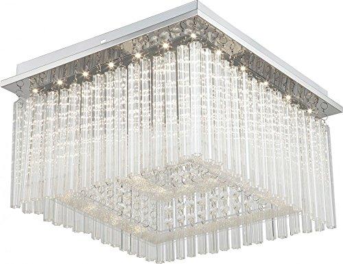 Globo LED Decken Lampe Chrom Leuchte Glasstäbe Kristalle Wohn Ess Zimmer Beleuchtung, 68567-21
