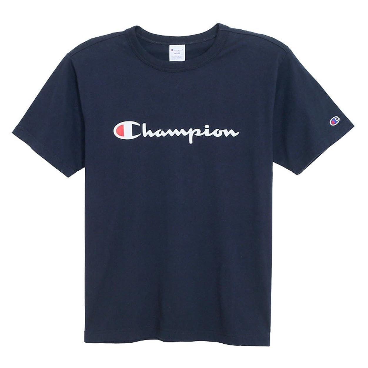 砂利成り立つぞっとするようなチャンピオン CHAMPION ラバープリント 左袖には「C」マークワッペン 生地を挟みこんで縫製したバインダーネック JAPANサイジング Tシャツ メンズ C3-H374 370????