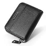 小銭入れ メンズ 本革 コインケース カードケース YKK L字ファスナー コンパクト 財布 (ブラック)