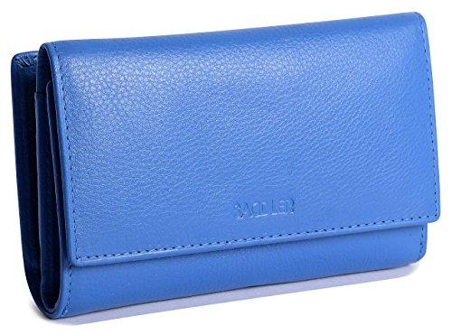 SADDLER Billetera Triple Pliegue de 14cm para Mujeres con Cremallera de 3 Vias y Monedero de 2 Secciones - Azul Electrico