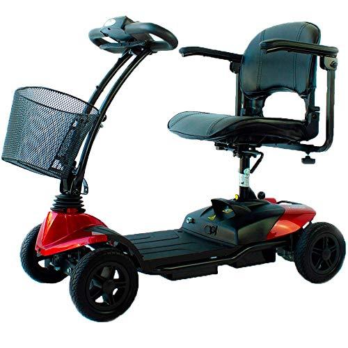 Mobiclinic, Virgo, Scooter eléctrico adultos, personas con movilidad reducida, minusválidos, discapacitados, 4 ruedas, Desmontable, Manillar plegable, Auton. 10 km, 12V, Rojo