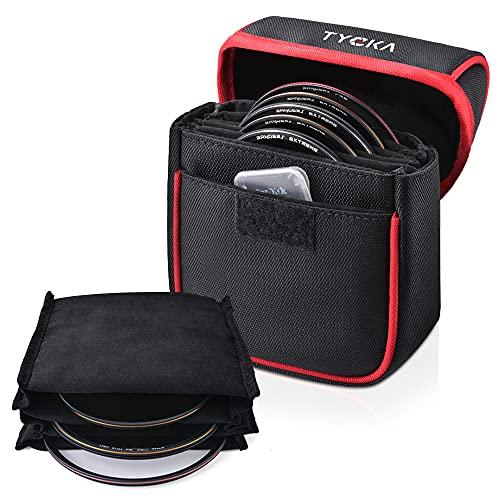 Tycka Filter Aufbewahrung, 5 Taschenbeutel Filter Tasche für Bis Zu 86mm Runde Filter, Herausnehmbares Innenfutter und Wasserbeständiges und Staubdichtes Design, Schwarz