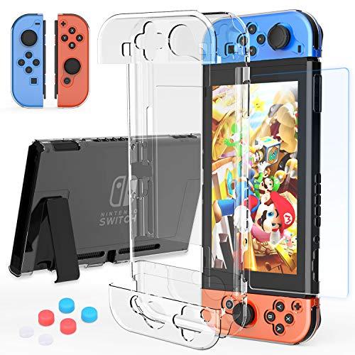 HEYSTOP Carcasa Compatible con Nintendo Switch - Funda protectora transparente Compatible con Nintendo Switch y Grip con protector de pantalla de interruptor y tapas para pulgar