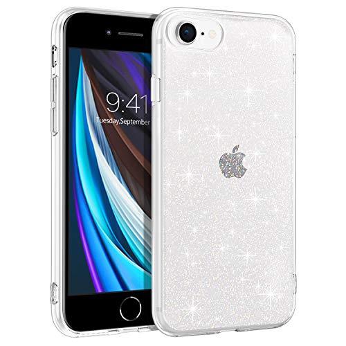 BENTOBEN iPhone SE 2020 Hülle, iPhone 8 Hülle, Handyhülle iPhone 7, Handyhülle iPhone SE 2020/8/7 Case Slim Glitzer Anti Gelb Silikon Cover Ultra dünn Hülle für iPhone SE 2/8/7 Bling Transparent