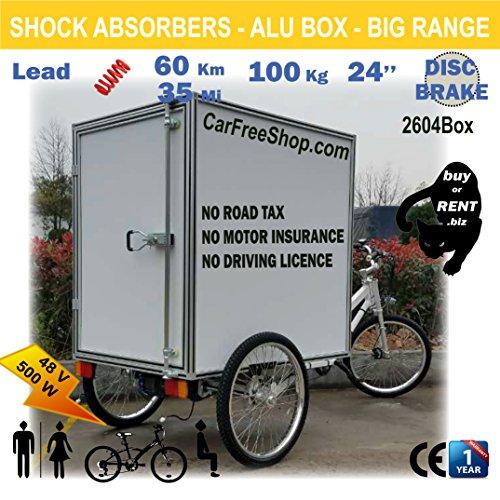 customIZED Carfreeshop Maßgeschneiderte Cargo-Trike2604Box Elektrische Gestützten E-Bike Trike Mit Gesichertem Geschlossen Box, 61 Cm Dreiradscooter, Big Akku 20 Ah, 500 W