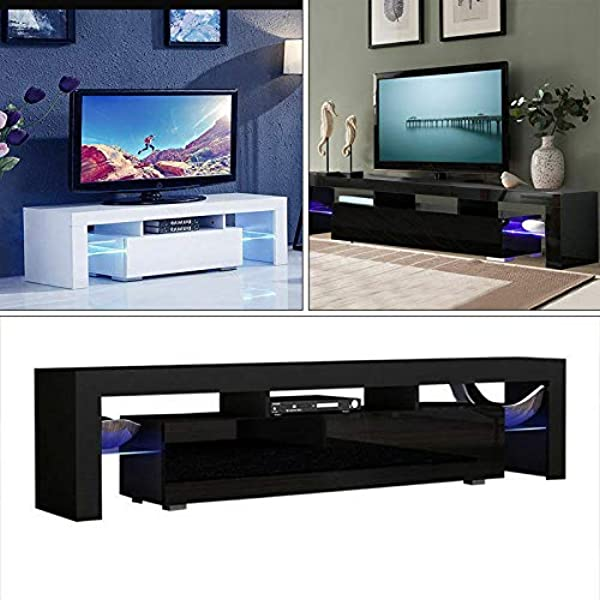 HomVent TV Entertainment Center Modern TV Stand Cabinet Wine Cupboards TV Table TV Unit Gloss Cabinet With LED Light Tea Rack Book Shelf Furniture For Living Room Bedroom Black