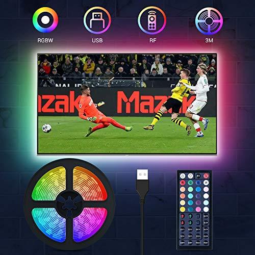 LED TV Hintergrundbeleuchtung, MustWin 3M USB LED Beleuchtung für 32-60 Zoll RGBW Strip Dimmbar mit RF-Ferbedienung 6000K Kaltweiß, 6 Modi 20 Farben DIY Farbwechsel mit Memoryfunktion für Fernseher PC