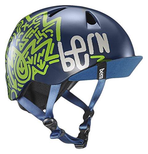 BERN, Kid's Nino Helmet with Flip Visor, Satin Navy Blue Zig Zag, X-Small/Small