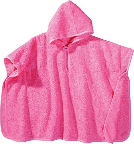 Erwin Müller Kinder-Poncho mit Kapuze Frottier pink Größe 50x70 cm - saugstark, hautfreundlich, langlebig, mit Knopfverschluss am Ausschnitt, 100% Baumwolle