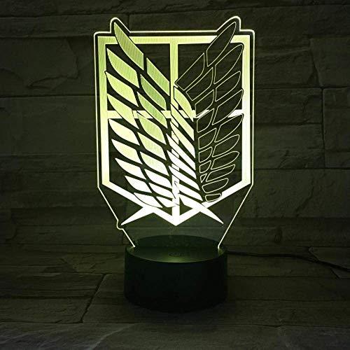 Ataque a Titan Scouting Legion Mark Creative 3D LED ilusión noche luces dormitorio decoración mesa lava lámpara para amigo cumpleaños/regalo de Navidad