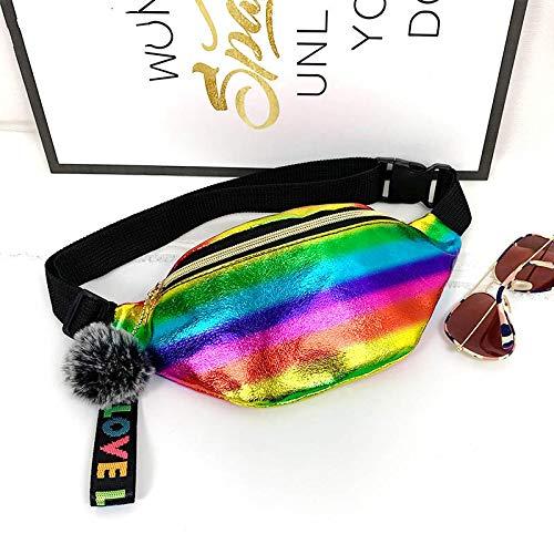 Paquete de cintura de las mujeres bolsas de cintura con hermosa bola colgante holográfico Fanny Pack Para las Niñas de Cuero Impermeable Láser Bum Bag 4207Colorful