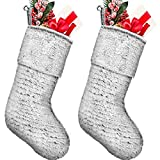 2 Pieces Christmas Stocking Faux Fur Stocking Snowflake Stocking Fireplace Hanging Stocking Christmas Stocking Gift Bags for Xmas Family Party Decoration (Faux Fur 4, 20 Inch)