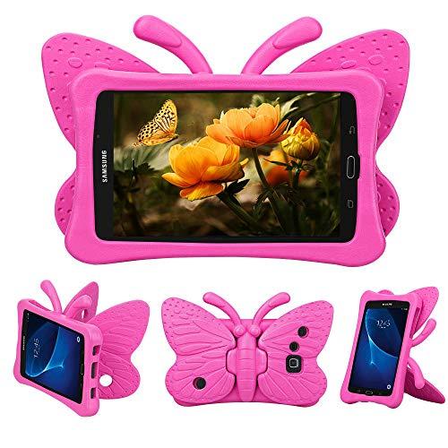 Tading Galaxy Tab A 7.0 Hülle für Kinder, Superleicht Eva Stoßfest Kinder Schutzhülle mit Standfunktion für Samsung Galaxy Tab A 7.0 Zoll Tablette SM-T280/T285, Süß Schmetterling Design - Heiß rosa