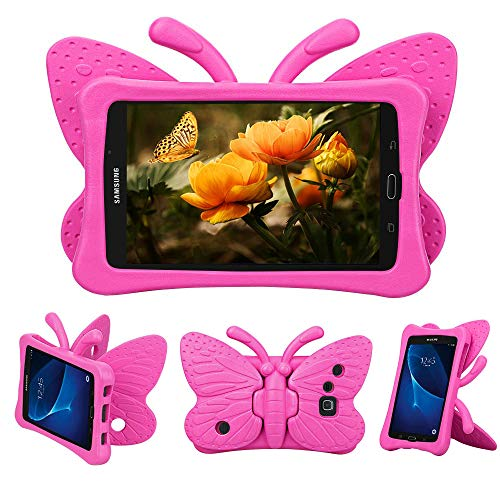 Tading Kids Case for Samsung Galaxy Tab A 7.0 SM-T280 /T285, [NOT FIT Samsung Galaxy Tab A7 10.4' 2020], Cute Butterfly Light Weight Shockproof Protective Stand Cover for Galaxy Tab A 7 inch -Hot Pink