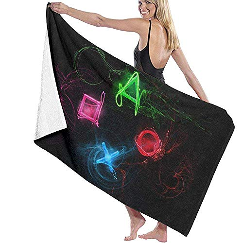 Abstract Playstation Buttons Toalla de Playa de Microfibra para Adultos Grande 130X80CM Secado rápido Altamente Absorbente Uso Multiusos Toalla de baño para Mujeres Hombres
