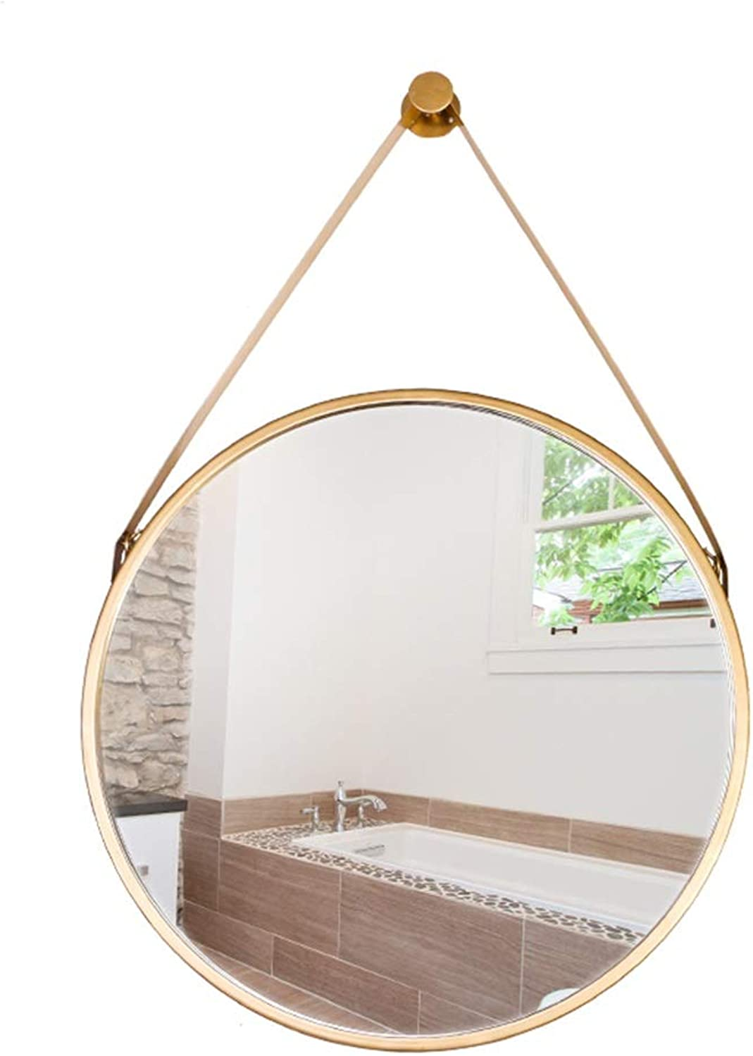 LH-Mirror Round Hanging Mirror Wall Bathroom Mirror   Circle Wall Mounted Vanity Makeup and Shaving Mirror   Circle Plane Mirror   gold Metal Frame (Size   Diameter 60CM)
