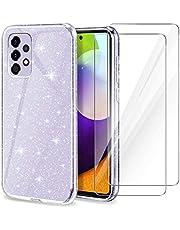 YIRSUR Hoes compatibel met Samsung Galaxy A52 met 2 stuks pantserglas, telefoonhoes case transparant glitter slim soft silicone TPU compatibel met Galaxy A52