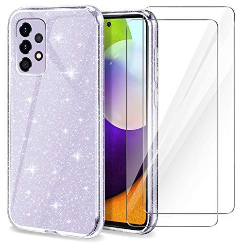 YIRSUR Hülle Kompatibel mit Samsung Galaxy A52 5G mit 2 Stück Panzerglas, Handyhülle Hülle Transparent Glitzer Slim Soft Silikon TPU Kompatibel mit Galaxy A52 5G (Clear)