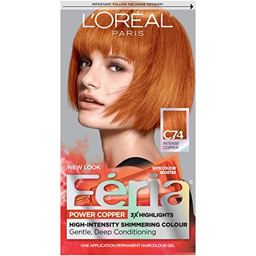 L'Oreal Paris Feria Multi-Faceted Shimmering Permanent Hair Color, C74 Copper Crave (Intense Copper), Pack of 1, Hair Dye