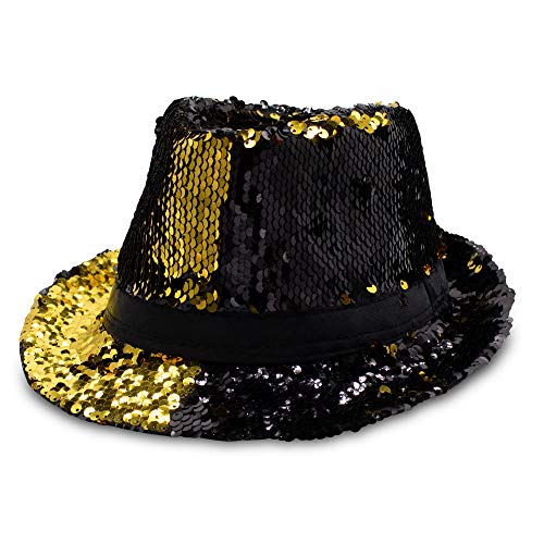 Windy City Novelties LED Light Up Gold and Black Color Changing Sequin Fedora Party Hat