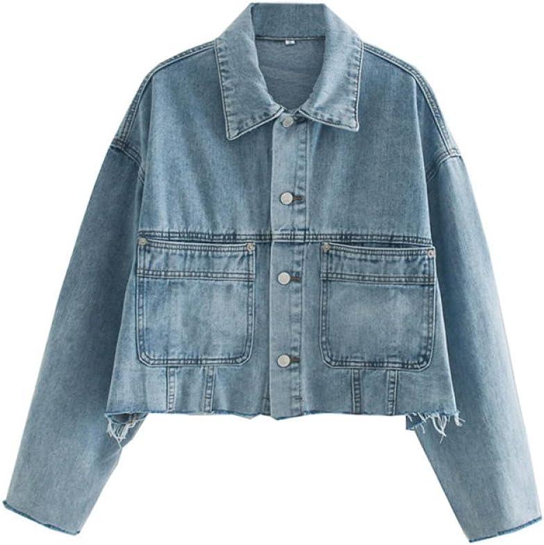 HNJing Blue Stylish Denim Jacket Women's Autumn Loose-Fitting Thin Top Casual Korean Version of Hairy Denim Outerwear