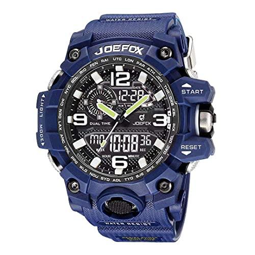 Reloj Militar para Hombre Azul Deporte Relojes Analógico y Digital LED Electrónico Grande Relojes Resistente al Agua 50M