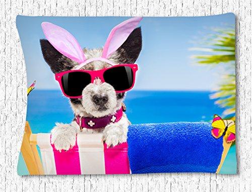 Irma00Eve Grappige Wandtapijt Ophanging, Grappige Hond Met Rood Zonneglas En Roze Konijn Oren Haarband Wandtapijt Ophangen Voor Slaapkamer Woonkamer Dorm Wandopknoping Tapestry In 40X60 Inch