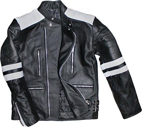 German Wear Leder Motorradjacke Oldschool Retro, Schwarz/Weiss, 60