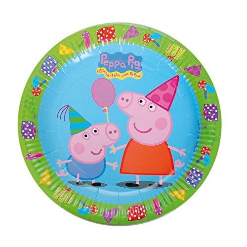 Peppa Pig 0523, Pack 8 Platos 23 cm, Producto de cartón, para...
