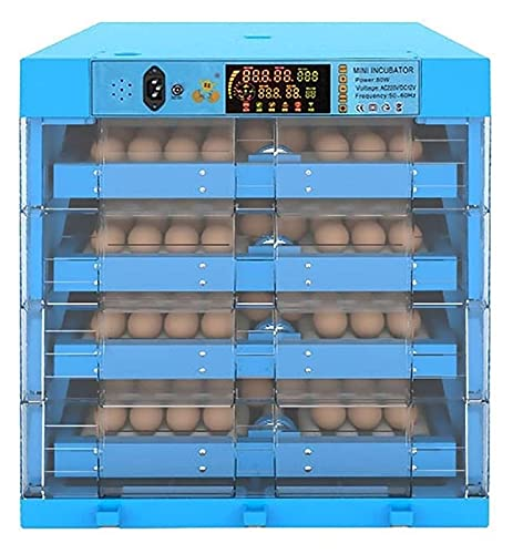 YQQQQ Huevos Incubadora Automático Turning 256eggs Digital Granja Granja Aves de Aves de Aves de Aves para El Control De Temperatura (Color : Blue, Size : 48x48x54cm)