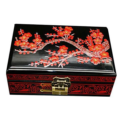 HAIHF Chinesischen Stil Holz Schmuckkästchen, handbemalte Holz Push Lack Ware Schmuckschatulle Hochzeitsgeschenk mit Schloss Massivholz Lagerung Geschenkbox