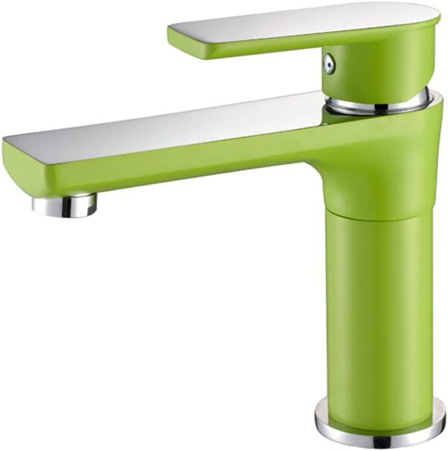 Rollsnownow Creative green paint gold-plated faucet, bathroom sink faucet, single-handle single hole