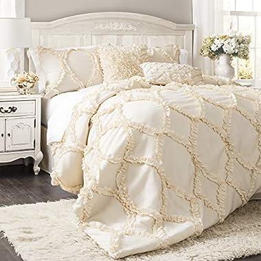 Lush Decor Avon Comforter Ruffled 3 Piece Bedding Set with Pillow Shams – Full Queen – Ivory