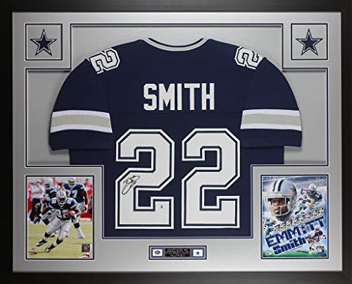 Emmitt Smith Autographed Blue Dallas Cowboys Jersey - Beautifully Matted and Framed - Hand Signed By Emmitt Smith and Certified Authentic by Beckett - Includes Certificate of Authenticity